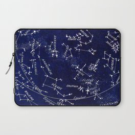French October Star Map in Deep Navy & Black, Astronomy, Constellation, Celestial Laptop Sleeve