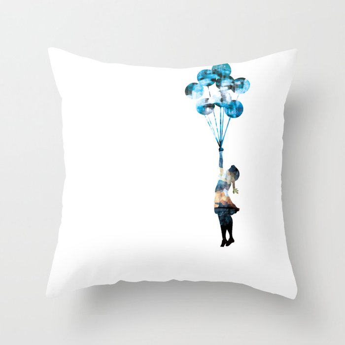 Banksy Balloon Girl Throw Pillow