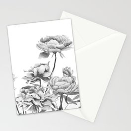 black and white peonies 2 Stationery Cards