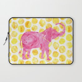 Pink Watercolor Elephant on Yellow Dots Laptop Sleeve