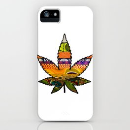 Retro Vibes Marijuana Leaf iPhone Case