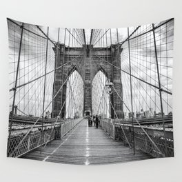 Brooklyn Bridge, New York City (rustic black & white) Wall Tapestry