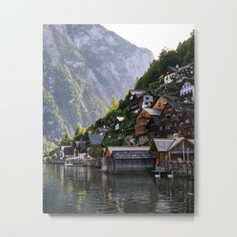 Lakeside village Halstatt, Austria Metal Print