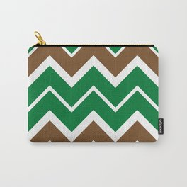Big Chevron:  Kelly Green + Chocolate Brown Carry-All Pouch