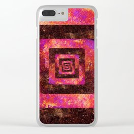 Boxed in | Colorful distressed geometric abstract Clear iPhone Case