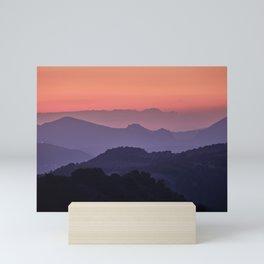 Purple sunset at the mountains. Last night Mini Art Print
