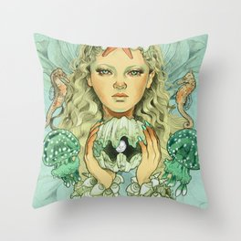 The Mermaid (color) Throw Pillow