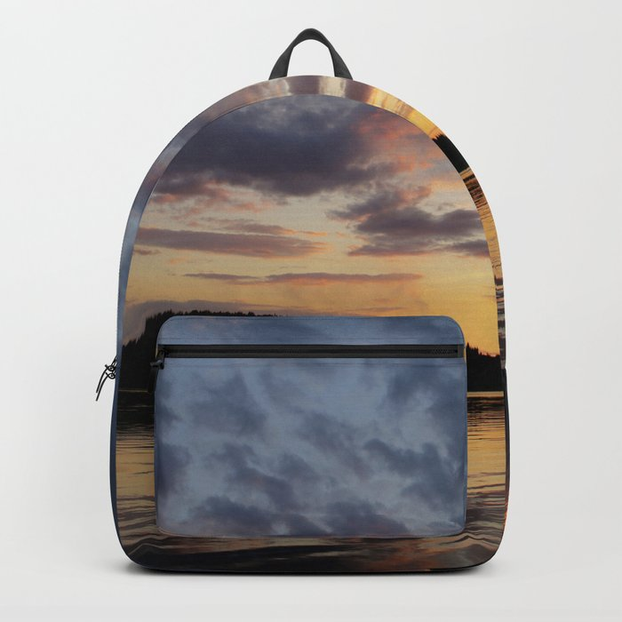 Spring Sunset - beautiful colors and reflections - cloudy sky Backpack