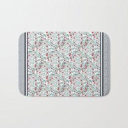 Little Flowers in Red, Blue and Plaid Print - Indian Floral Collection Bath Mat