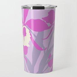 Stylized Cattleya sympodial purple orchid graphic art Travel Mug