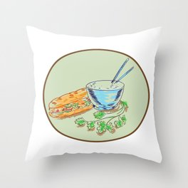 Bánh Mì Sandwich and Rice Bowl Drawing Throw Pillow