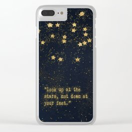 Look up at the stars,not down at your feet- gold glitter effect Typography Clear iPhone Case