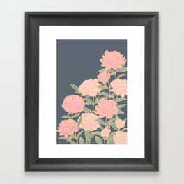 Pink peonies vintage pattern Framed Art Print