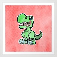 trex Art Prints featuring Cute Trex by TheLoreFactory