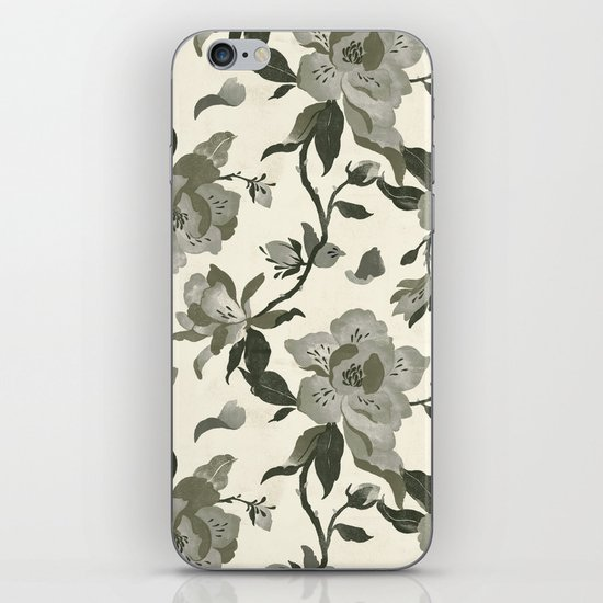 Black Magnolia Pattern iPhone & iPod Skin
