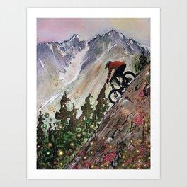 Downhill Biker Art Print