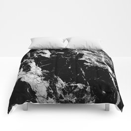Dark marble black white stone1 Comforters