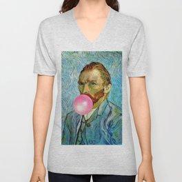 Bubble Gum Van Gogh pop art self portrait painting Unisex V-Neck
