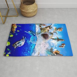 Cat Riding Shark In Ocean At Beach Rug