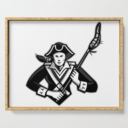 Girl Patriot Lacrosse Player Mascot Serving Tray