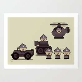 Grumpy Little Soldiers Military Art, Military Wall Art Art Print