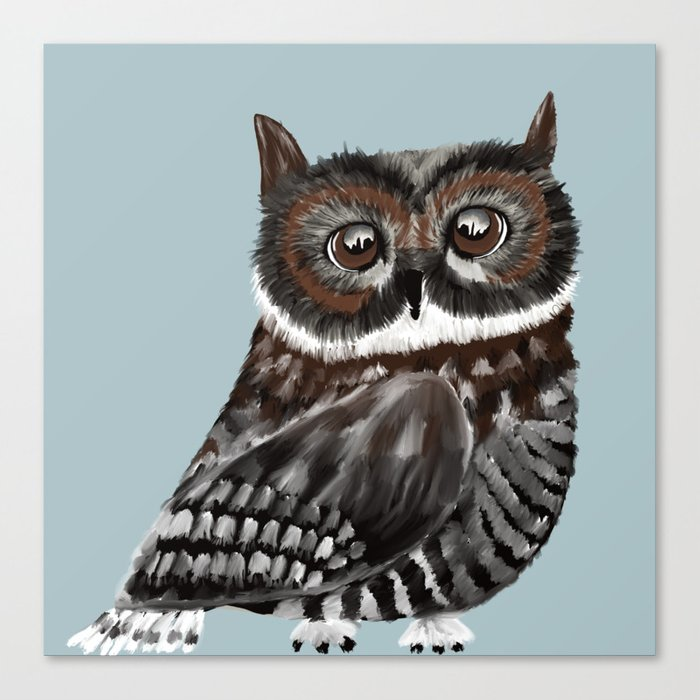 Adorable Owl In Blue Canvas Print