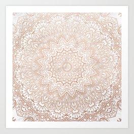 Mandala - rose gold and white marble 3 Art Print