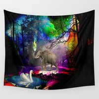 decal Wall Tapestries featuring Fantasy forest by haroulita