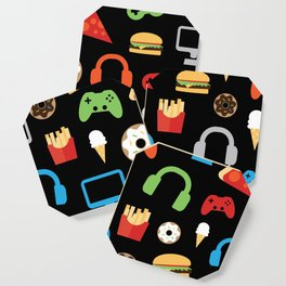Video Game Party Snack Pattern Coaster