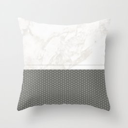 White Marble with Grey Star Pattern Design Throw Pillow