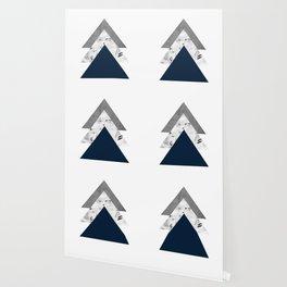 Blue grey monochrome blossom arrows Wallpaper