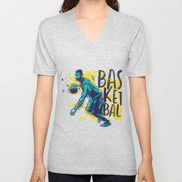 Basketball with man Unisex V-Neck