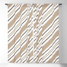 Pantone Hazelnut Nutmeg and White Thick and Thin Angled Lines - Stripes Blackout Curtain
