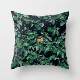 Orange horse in the bush Throw Pillow