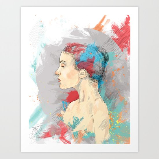 Profile of a Girl Art Print