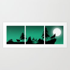 The sheep and the wolf in the woods Art Print