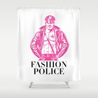police Shower Curtains featuring FASHION POLICE by Christopher Lee Sauvé