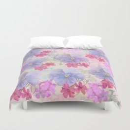 Painterly purple pansies and pink Oxalis Duvet Cover