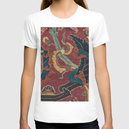 Flowery Arabic Rug III // 17th Century Colorful Plum Red Light Teal Sapphire Navy Blue Ornate Patter T-shirt