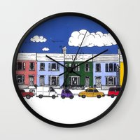 marc johns Wall Clocks featuring St Johns Terrace, Lewes by Richard Ellis