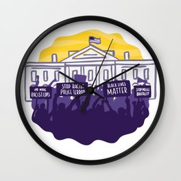 Protests in front of the white house Wall Clock