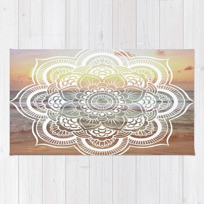 Beach Sunset Mandala Rug