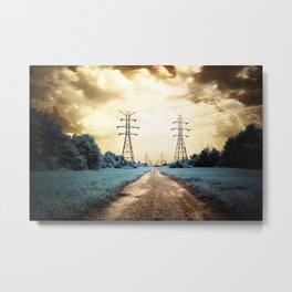 Golden Power Lines Metal Print