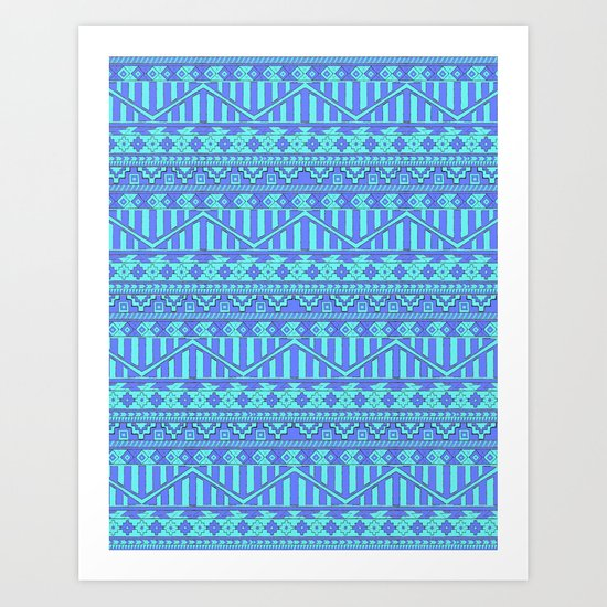 Aztec duo color blue pattern Art Print