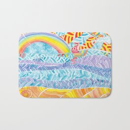 Sea beach with a rainbow and shells - abstract doodle colorful landscape Bath Mat