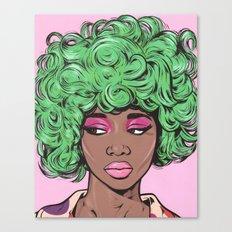 Green Kawaii Comic Girl Canvas Print