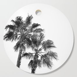 B&W Palm Tree Print | Black and White Summer Sky Beach Surfing Photography Art Cutting Board
