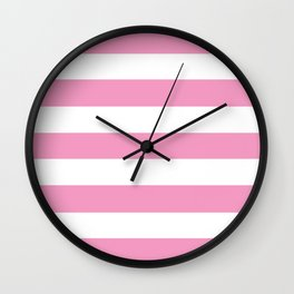 Pastel magenta - solid color - white stripes pattern Wall Clock