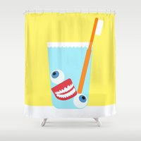 tooth Shower Curtains featuring Tooth Brush by years