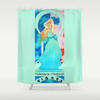 pisces Shower Curtains featuring Pisces by Sprat